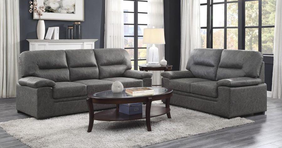 Homelegance 9407DG-2PC 2 pc Michigan dark gray faux suede fabric sofa and love seat set