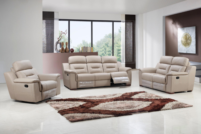 2 pc Nova collection beige leather gel upholstered sofa and love seat with recliner ends