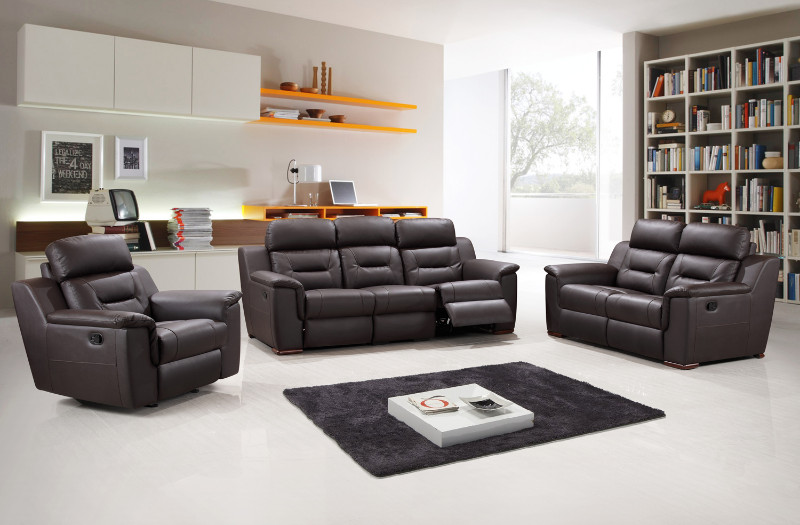 2 pc Nova collection brown leather gel upholstered sofa and love seat with recliner ends