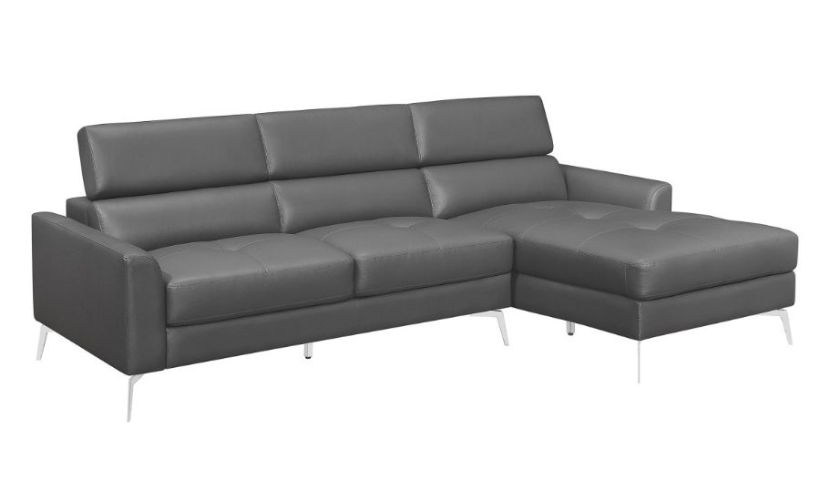 Homelegance 9408DGY-SC 2 pc Ashland dark gray top grain leather match sectional sofa with chaise and adjustable headrests