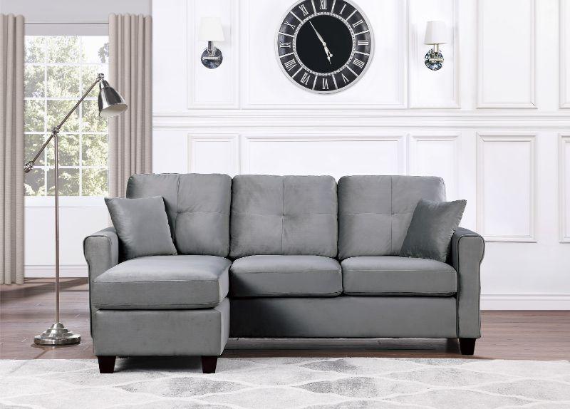 9411GY-3SC Winston porter medora gray velvet fabric reversible sectional sofa