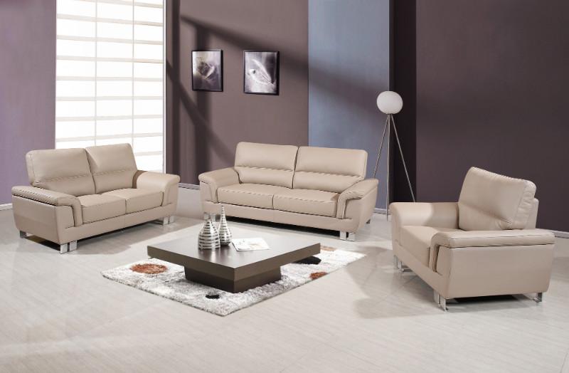 9412BEI-2PC 2 pc Orren ellis catalina modern style beige leather gel sofa and love seat set
