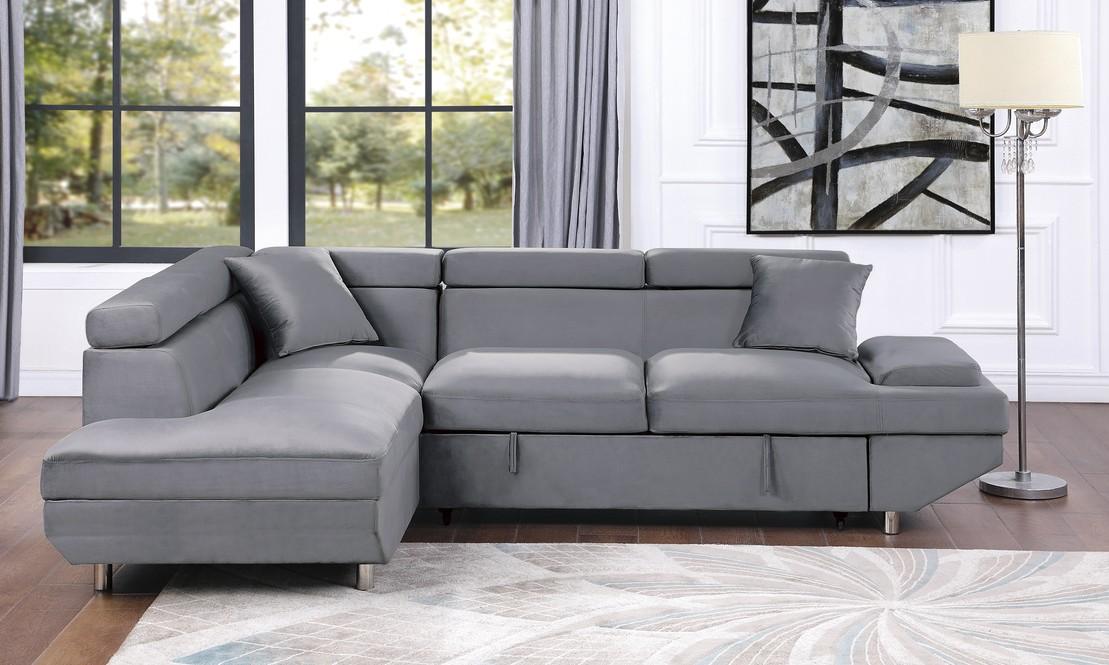 9412GY-SC 2 pc Winston porter cruz gray velvet fabric pop up sleep area sectional sofa adjustable headrests