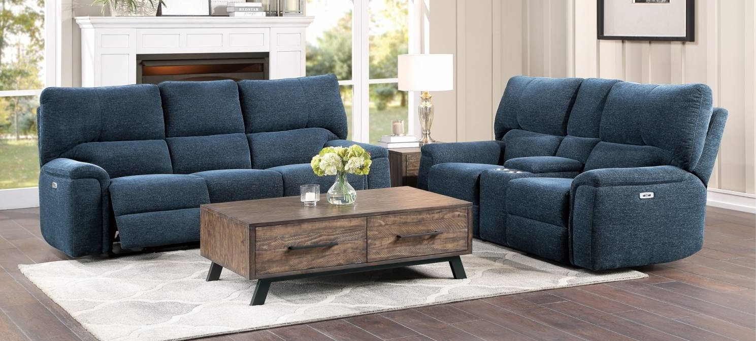 Homelegance 9413IN-2PC 2 pc Dickinson indigo chenille fabric motion sofa and love seat set recliner ends