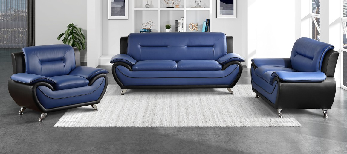 Homelegance 9419BU-2pc 2 pc Matteo black and blue faux leather sofa and love seat set with chrome legs