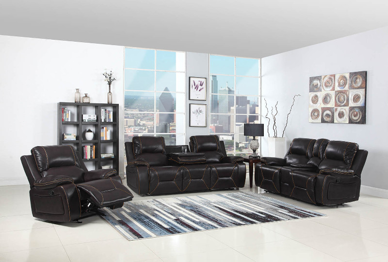 2 pc Quincy collection brown leather aire upholstered sofa and love seat with console with recliner ends