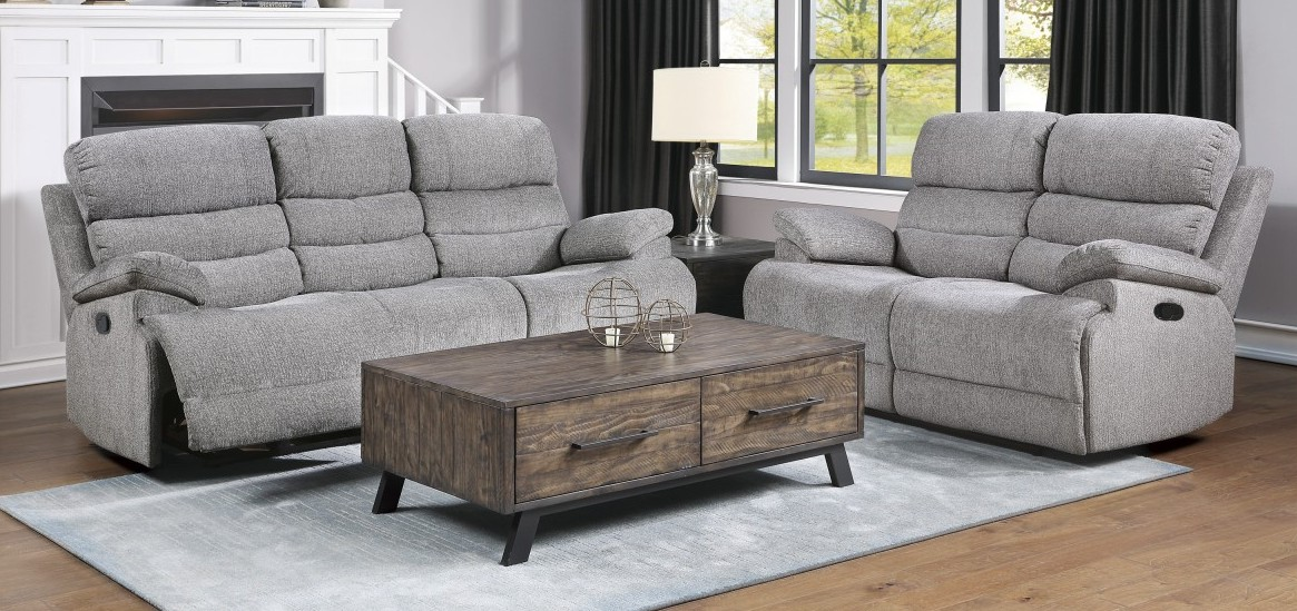 Homelegance 9422FS-2PC 2 pc Sherbrook gray chenille fabric standard motion sofa and love seat set recliner ends