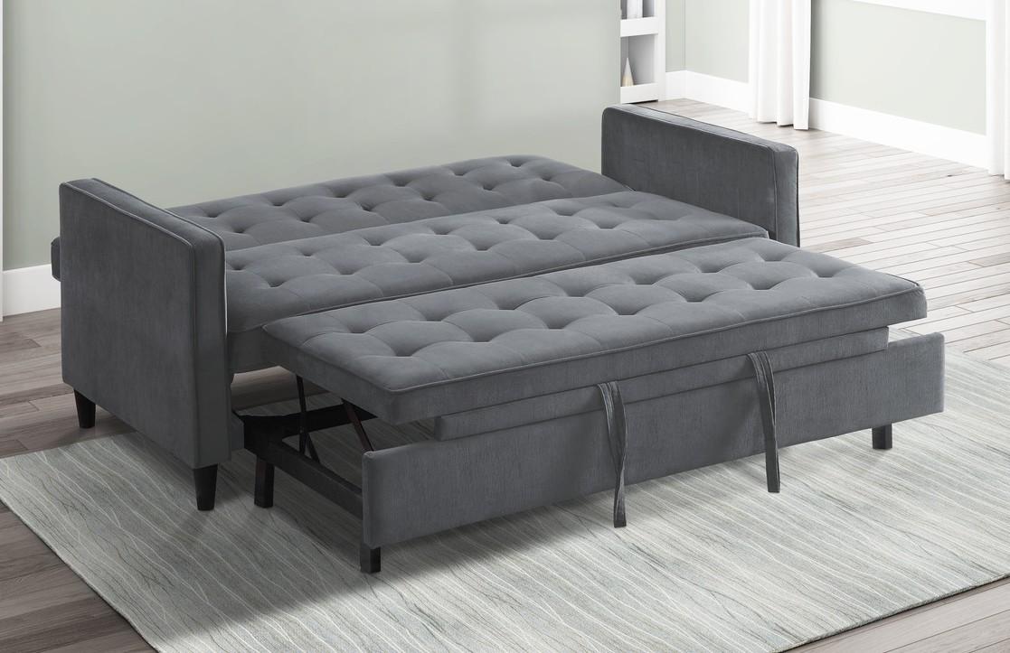 Homelegance 9427DG-3CL Winston porter Strader dark gray microfiber fabric sofa with pop up sleep area and fold down back