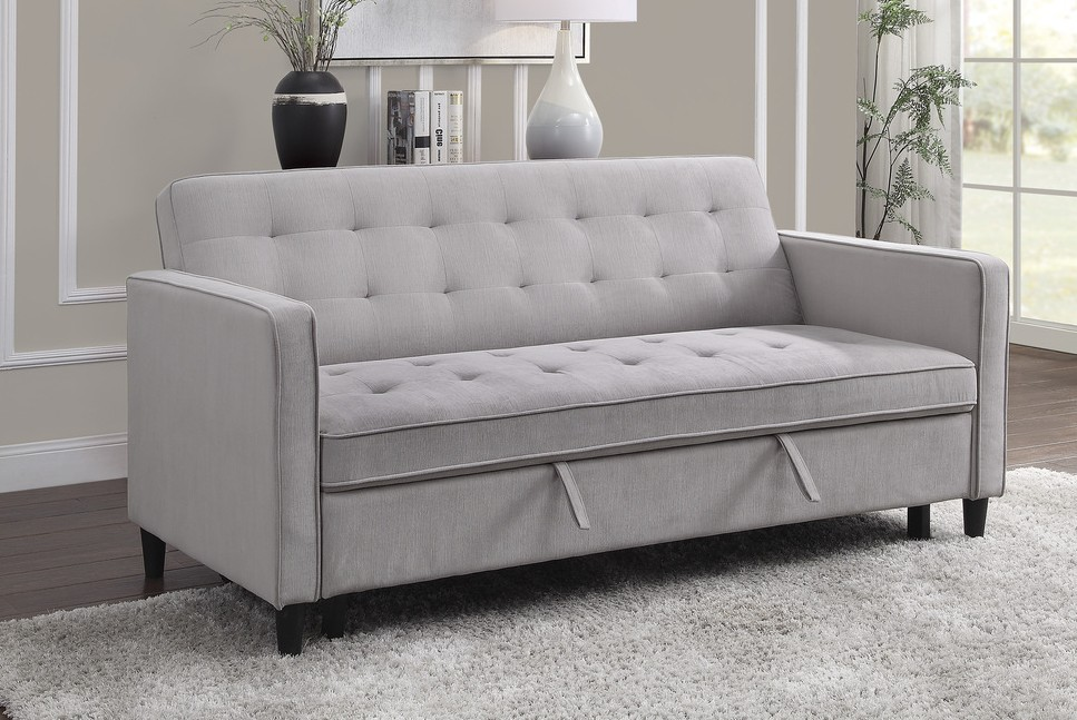 Homelegance 9427DV-3CL Winston porter Strader dove gray microfiber fabric sofa with pop up sleep area and fold down back