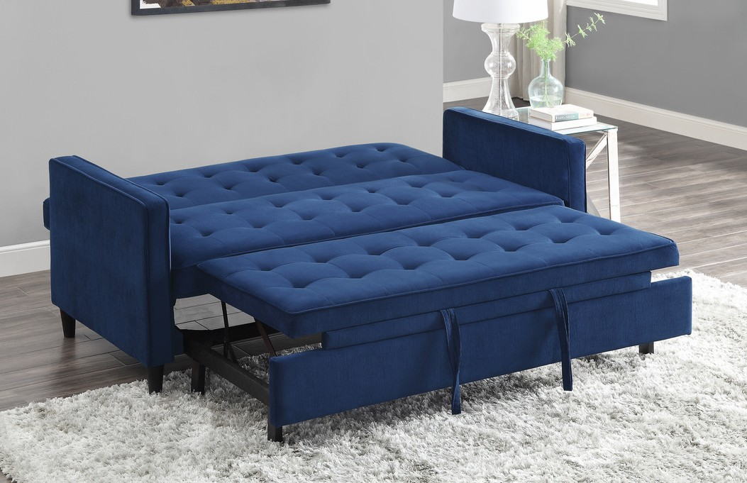 Homelegance 9427NV-3CL Winston porter Strader navy microfiber fabric sofa with pop up sleep area and fold down back