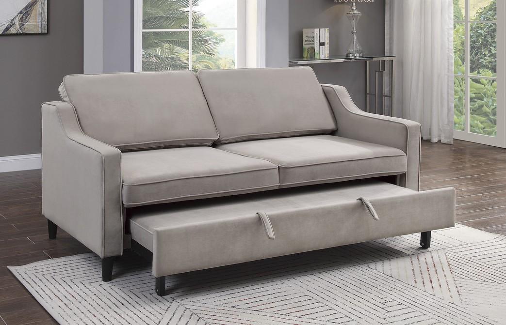 Homelegance 9428CB-3CL Winston porter Adelia cobblestone velvet fabric sofa with pop up sleep area and fold down back