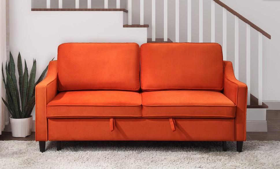 Homelegance 9428BRN-3CL Winston porter Adelia orange velvet fabric sofa with pop up sleep area and fold down back
