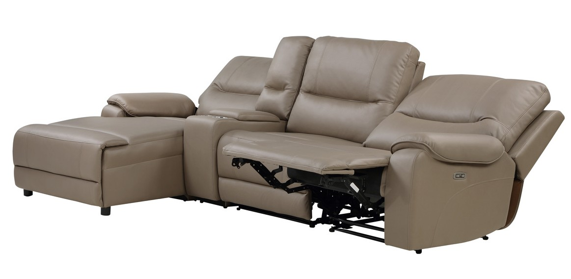 Homelegance 9429TP-4LCRRPWH 4 pc Legrande taupe premium faux leather sectional sofa with power recliners and chaise