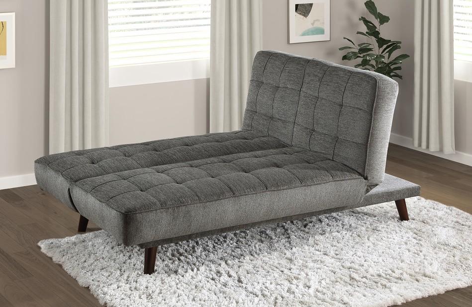 Homelegance 9434GM-3CL Winston porter Brimmer gunmetal gray chenille fabric futon sofa folding back