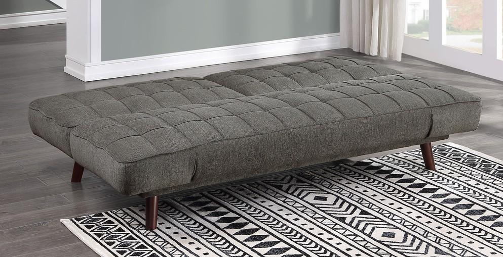 Homelegance 9435RF-3WD Winston porter Driggs gunmetal gray chenille fabric futon sofa folding back