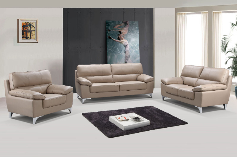 2 pc Xenia II collection modern style beige leather gel upholstered sofa and love seat set