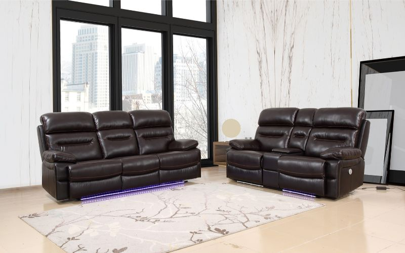 GU-9442BR-2PCPWR 2 pc Red barrel studio brown leather aire power motion recliners and headrests sofa and love seat set