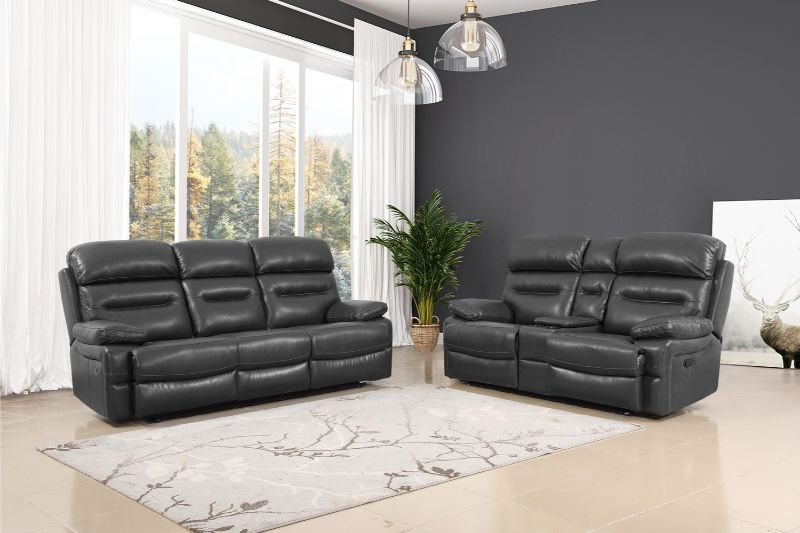 GU-9442GY-2PC 2 pc Red barrel studio gray leather aire reclining sofa and love seat set