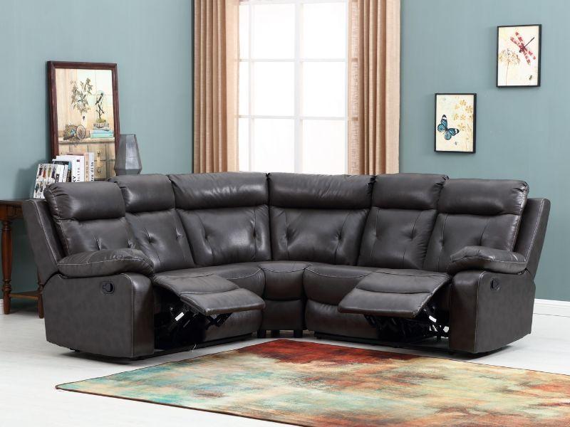 GU-9443GY-3PC 3 pc Latitude run kalea grey leather aire reclining sectional sofa set