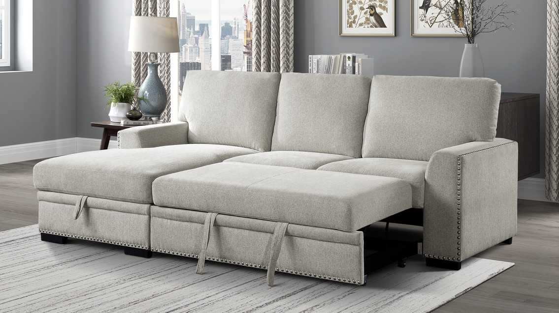 Homelegance 9468BE-2LC2R 2 pc Morelia beige chenille fabric sectional sofa with storage chaise and pop up sleep area