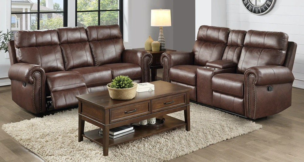 Homelegance 9488BR-2PWH 2 pc Granville brown polished microfiber sofa and love seat nail head trim power motion recliner ends