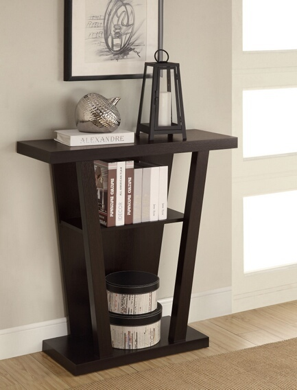 CST950136 Modern styling angular base espresso finish wood hall table sofa console entry table with lower shelf