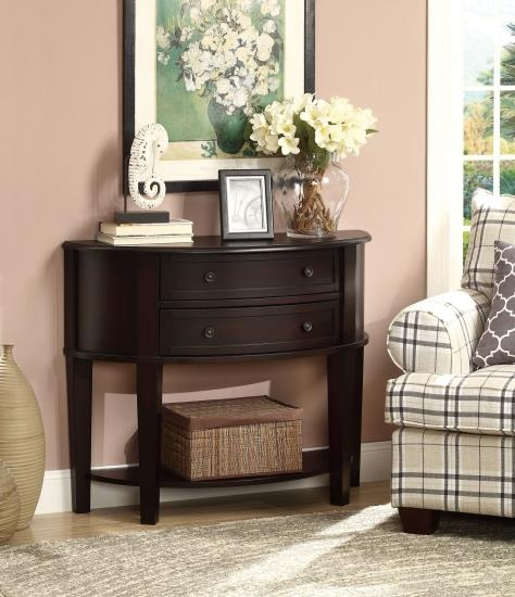 CST950156 Espresso finish wood hall console / sofa table with lower shelf and two storage drawers