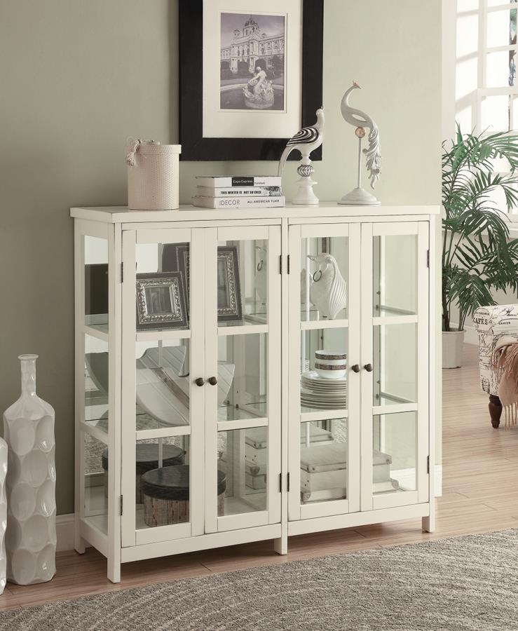 950306 Wildon home white finish wood and glass with mirrored back design hall console table with shelves