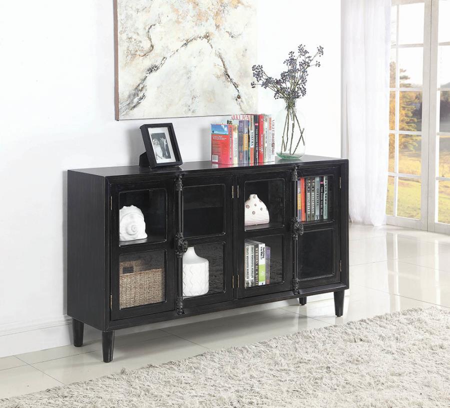 950780 Williston forge clairlea black rustic finish wood console server buffet cabinet