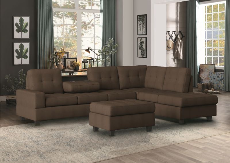 HE-9507CHC-3PC 3 pc Maston chocolate fabric reversible sectional sofa set storage ottoman