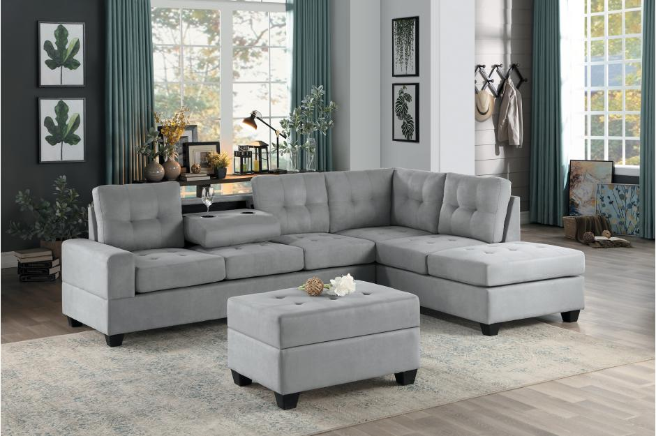 HE-9507GRY-3PC 3 pc Maston light gray fabric reversible sectional sofa set  storage ottoman