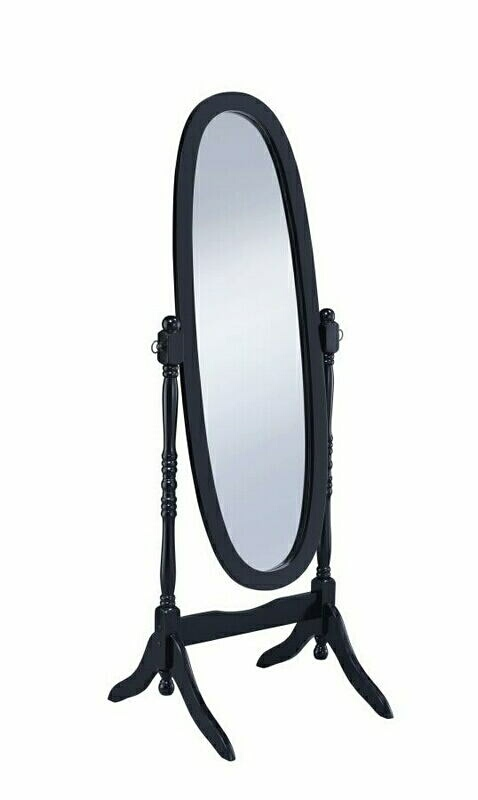 CST950803 Black finish wood oval turned post free standing cheval bedroom dressing mirror