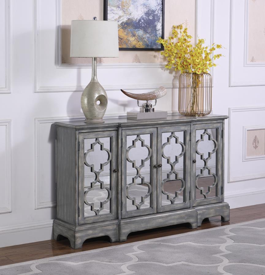 950822 House of hampton burress antique grey finish wood console server buffet cabinet