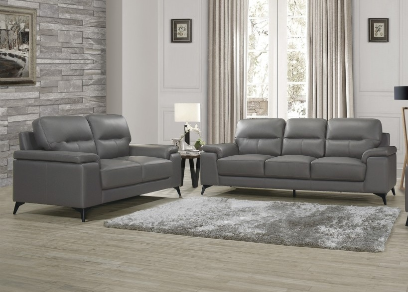 Homelegance 9514DGY-2PC 2 pc Mischa mid century modern dark gray top grain leather match sofa and love seat set wide arms