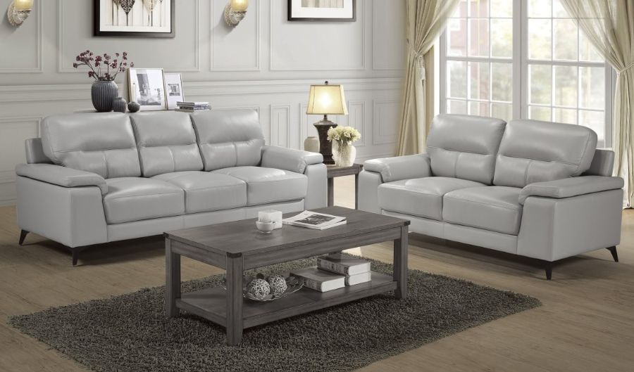 Homelegance 9514SVE-2PC 2 pc Mischa mid century modern silver gray top grain leather match sofa and love seat set wide arms