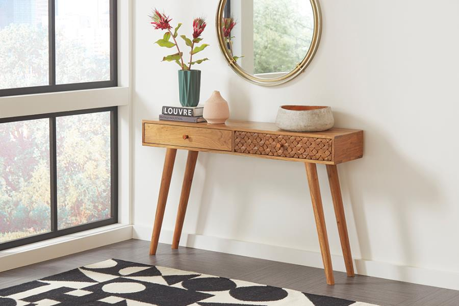 951790 Foundry select felecia natural brown finish wood console entry table