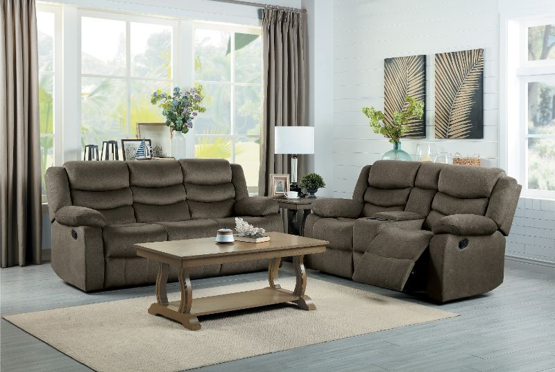 HE-9526BR-2PC 2 pc Discus brown fabric motion sofa and love seat set recliner ends