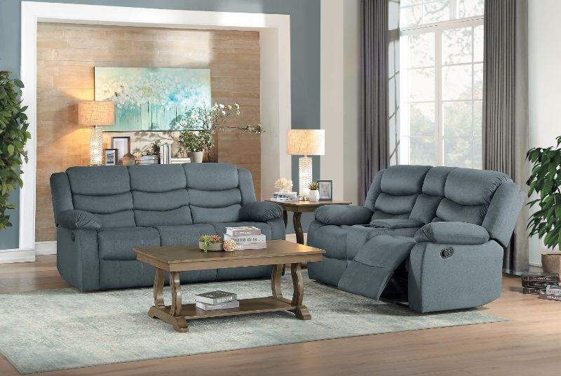 HE-9526GY-2PC 2 pc Discus gray fabric motion sofa and love seat set recliner ends
