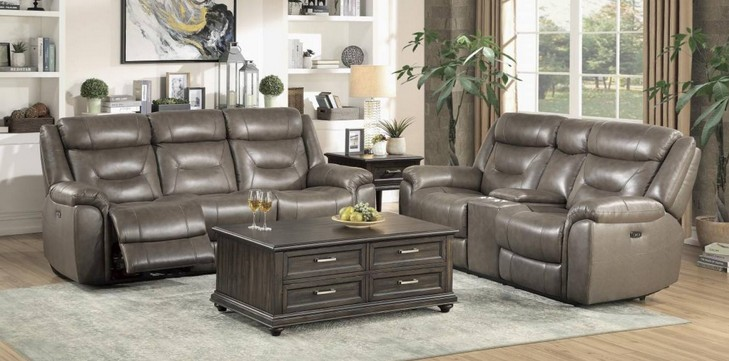 Homelegance 9528BRG-2PWH 2 pc Kennett brown gray italian top grain leather match power motion reclining sofa and love seat set