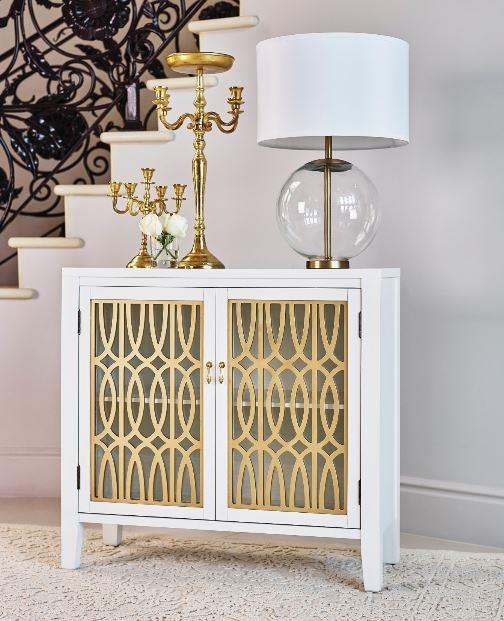 953250 Highland dunes dorothy white/gold finish wood cabinet with carved details