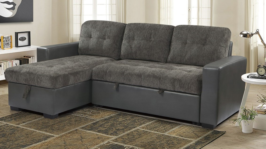Homelegance 9540GY-SC 2 pc Swallowtail two tone brownish grey fabric faux leather sectional sofa reversible storage chaise and pop up sleep area