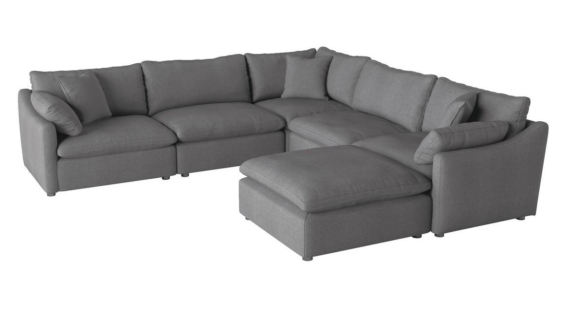 Homelegance 9544GY-6OT 6 pc Winston porter Howerton gray performance fabric modular sectional sofa with ottoman