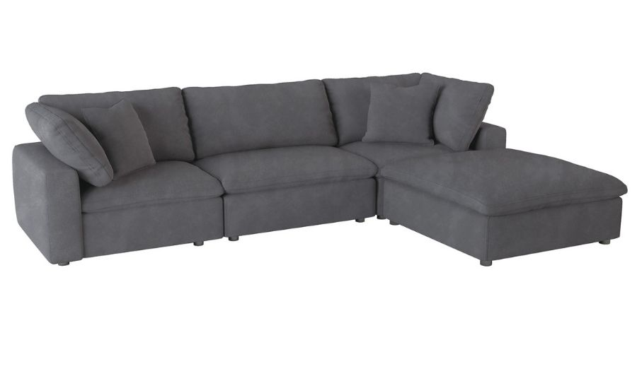 Homelegance 9546GY-4pc 4 pc Guthrie gray fabric down topped seating modular sectional sofa set