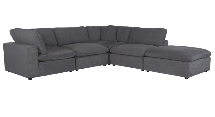 Homelegance 9546GY-5pc 5 pc Guthrie gray fabric down topped seating modular sectional sofa set