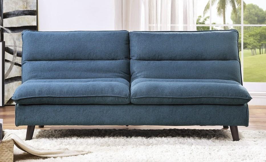 Homelegance 9560BU-3CL Winston porter Mackay blue textured fabric futon sofa folding back