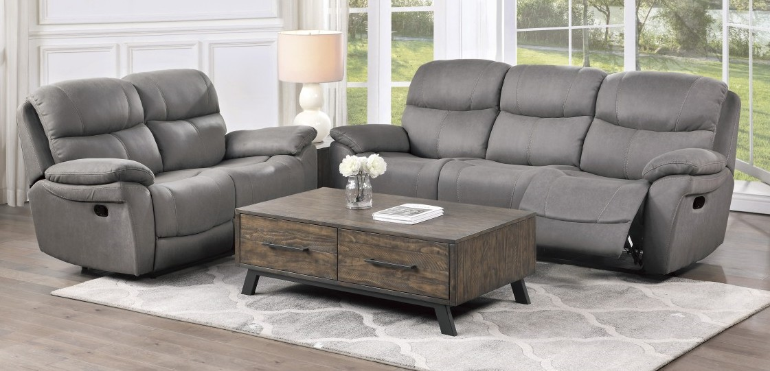 Homelegance 9580GY-2PWH 2 pc Longvale gray polished microfiber sofa and love seat set power recliner ends