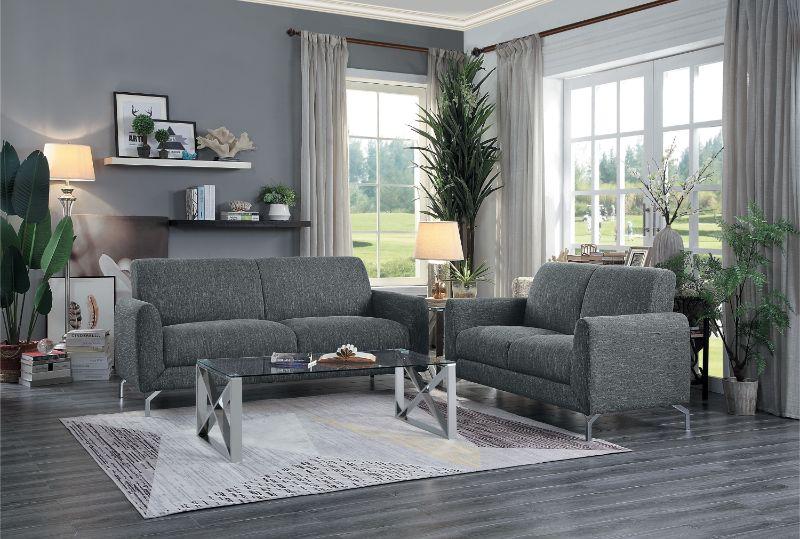 HE-9594DGY-2PC 2 pc Venture dark gray fabric sofa and love seat set with chrome modern legs