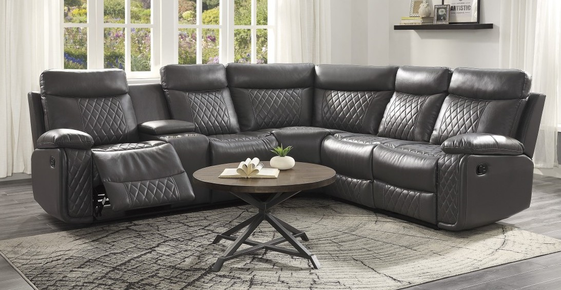 Homelegance 9599GRY-5C 6 pc Socorro hill grey breathable leatherette sectional sofa with recliners