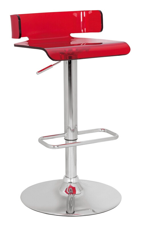 ACM96262 Rania collection red acrylic seat and chrome base adjustable height bar stool
