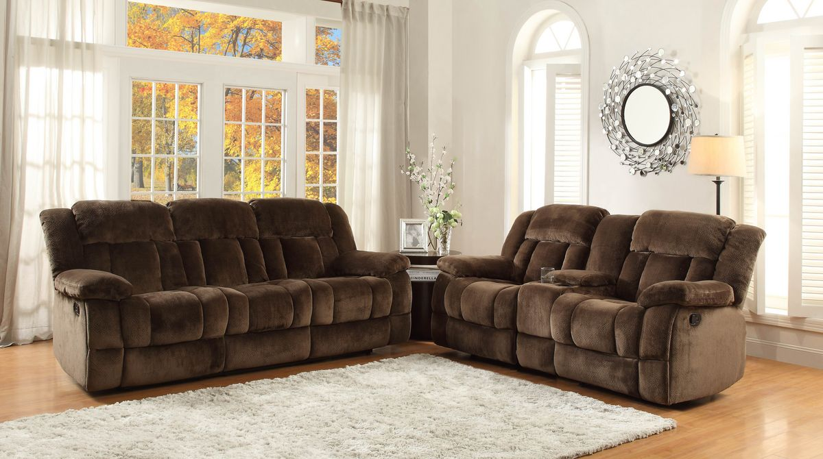 HE9636 2 pc Laurelton collection chocolate champion fabric upholstered double reclining sofa and love seat set